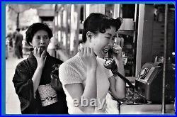 Original Marc Riboud Magnum large vintage photo girl street phone Japan 1958