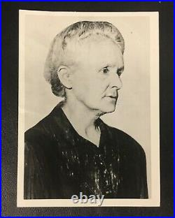 Original Rare Madame Marie Curie B&W Press Photo Vintage Polish Nobel Prize