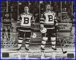 Patrice Bergeron Brad Marchand Boston Bruins Signed Autographed B/W 16x20