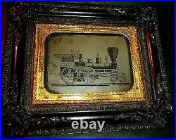 RARE Civil War Era 1/4 P. Ambrotype Locomotive Railroad Train, Thermoplastic Fr