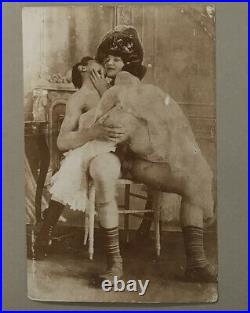 Rare Victorian Couple at Play Vintage Photograph 1880-1900