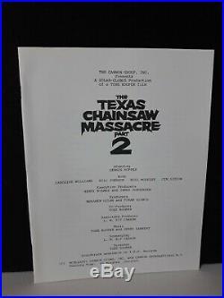 Rare Vintage 1986 THE TEXAS CHAINSAW MASSACRE 2 PRESS KIT With 6 B&W movie photos