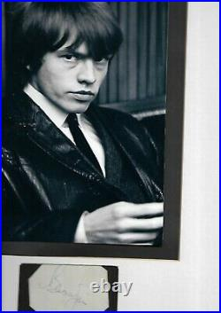 Rolling Stones Brian Jones Autographed Black And White Photograph Matted Framed