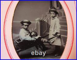 SUPER RARE Tintype Photo LOT Children Halloween Jack o Lantern Pumpkin ca 1880