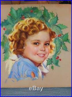 Shirley Temple Vintage Original Pastel Painting From Margaret Meisinger Priv Col