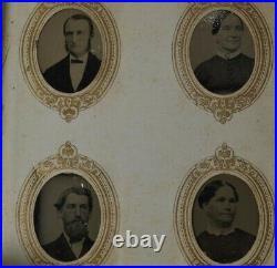 Tintype photo album miniature 41 gem 1 in Civil War Era portraits 1800 antique