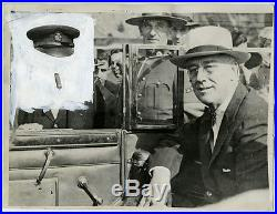 VINTAGE 1944 FDR withWinston Churchill's Face Painted Out Surreal Press Photo