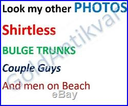 VINTAGE PHOTO SWIMSUIT BULGE TRUNKS MUSCLE lifeguard MEN BEACH SHIRTLESS GAY d06