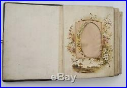 Very RARE photo album brown leather cover antique vintage with old photos