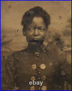 Victorian African American Fashion Button Artistic Tintype Photo Jacksonville Fl