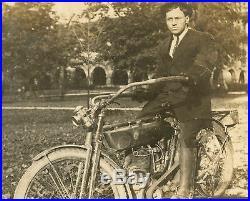 Vintage 1909 Reading Standard Motorcyle Handsome Man Lantern Antique Photo
