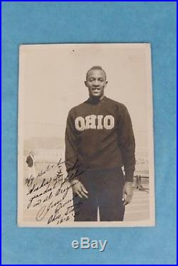 Vintage 1935 Jesse Owens Autograph Signed Ohio State University B&w Photograph