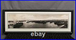 Vintage 1940s Honolulu Harbor Hawaii Panoramic Photograph Antique SS Monterey