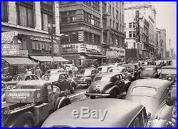 Vintage 1947 oversized photo of San Francisco Kearny st scene Christmastime