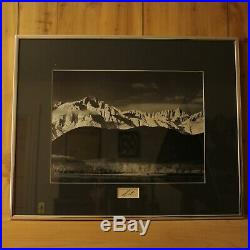 Vintage Ansel Adams Framed Print Winter Sunrise Sierra Nevada Photograph SIGNED