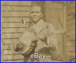 Vintage Antique 4 String Banjo African American Prohibition Era Photo Very Rare