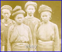 Vintage Antique Burma Burmese Peasants Traditional Dress Sepia Head Photo