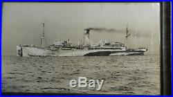 Vintage Antique Framed Photo U. S. S. Tenadores Ship Real Photo By E. Muller Jr