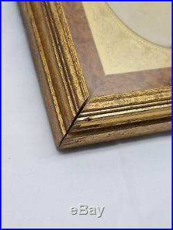 Vintage Antique Gold Gilt Wood Glass Picture Frame Lady Photograph Burl Inlay