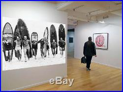 Vintage Art Surfing Surf Boards Print Canvas Beach Photo Black White painting