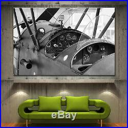 Vintage Biplane Propeller Airplane Canvas Print Photo Prints Black White Decor