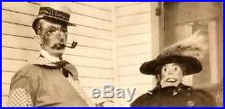 Vintage HALLOWEEN ORIGINAL PHOTO 1930's MAN WOMAN in CREEPY CLOWN & WITCH MASKS