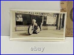 Vintage Harley Davidson Motorcycle Speed Record Photo Original & Newspaper Clip