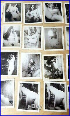 Vintage Lot of 27 Nude Girls/Women B&W Risque Poloroid Photographs #001