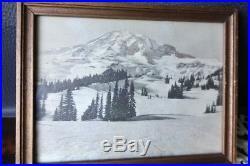 Vintage RARE MT RAINIER WASHINGTON photogravure Asahel Curtis photograph picture
