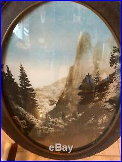 Vintage Yosemite National Park El Capitan Framed Photograph Convex Glass Bubble