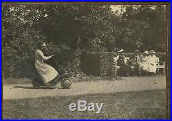Vintage giant Ad photo Krupp Autoped early scooter bike Roller Foto Germany 1920