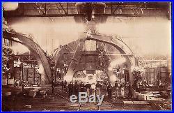 Vintage industrial photo workers steel works foundry factory usine acier ca 1900