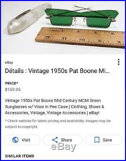 Vintage late 1950s- Pat Boone- crystal green persuasion hippie Sunglasses