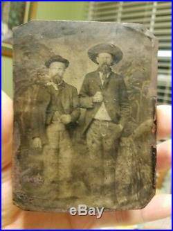 Vtg Antique Photo Tintype 2 Men Cowboys or Outlaws