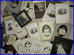 Vtg Lot of 70 Antique Assorted & CDV Photographs Collection with old suitcase k02