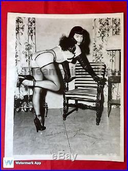 Vtg Original 50s Bettie Page 8x10 Girlie PinUp Photo Irving Klaw Heels Nylons