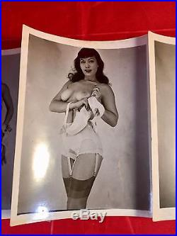 Vtg Original 50s Bettie Page Complete set of 12 Undressing Risque Pinup Photos
