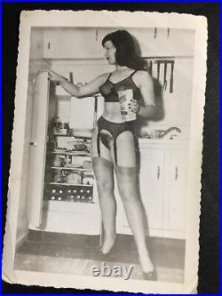 Vtg Original 50s Bettie Page Snapshot Risque Nylons Milk Home Kodak Velox Photo