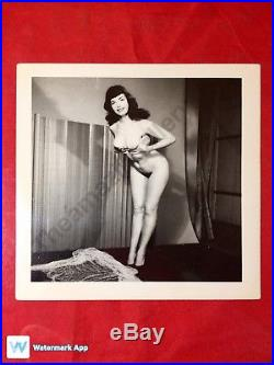 Vtg Original 50s Bombshell Bettie Page Risqué Camera Club Full Nude Pinup Photo
