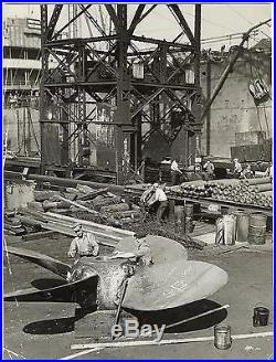 W. Eugene Smith VINTAGE STAMPED Baltimore Shipyard VERY RARE Double Weight Photo