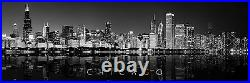 Wall Art Canvas Print Chicago Skyline Black White Panoramic Poster Size Photo